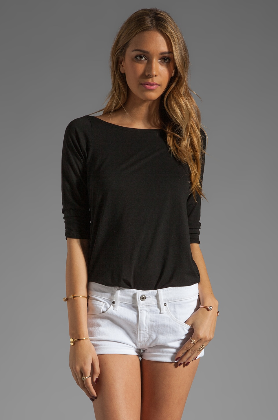 Feel the Piece Frenchie Boat Neck Top in Black