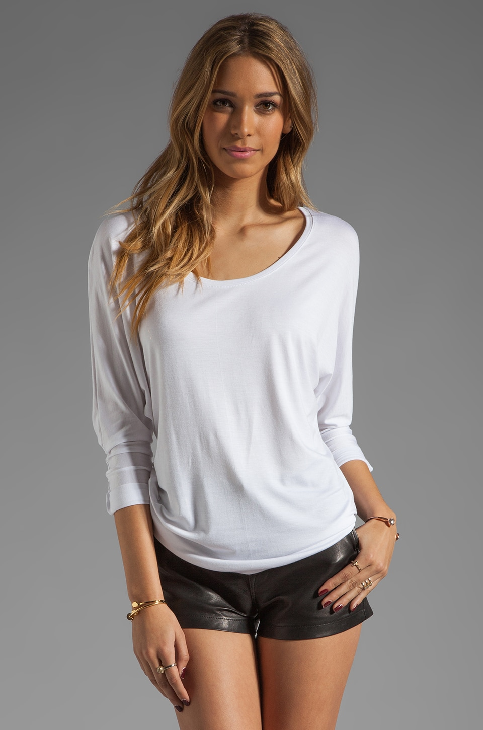 Feel the Piece Icon Long Sleeve Dolman Top in White