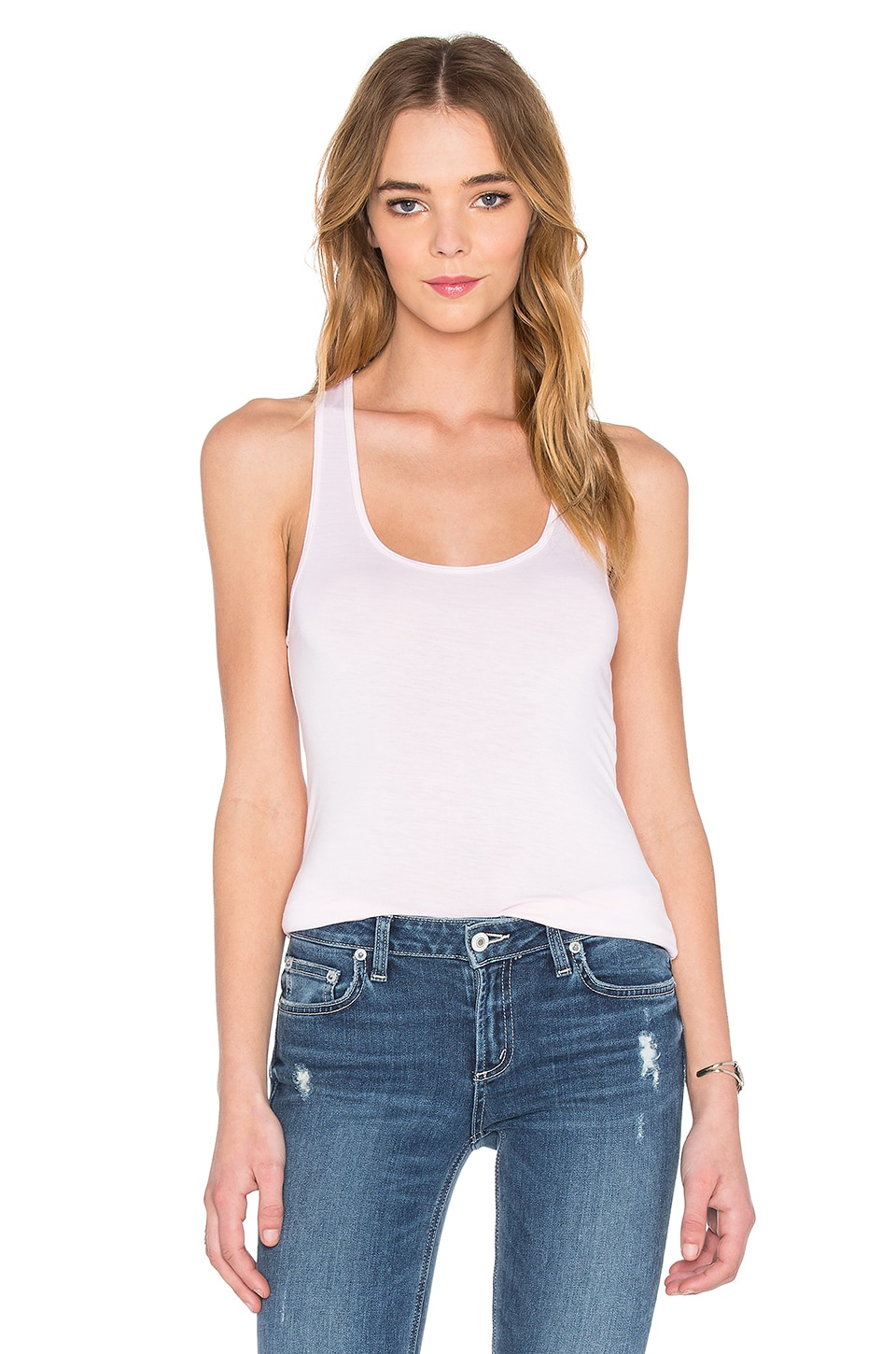 Feel the Piece Terrific Racer Tank in New Rose
