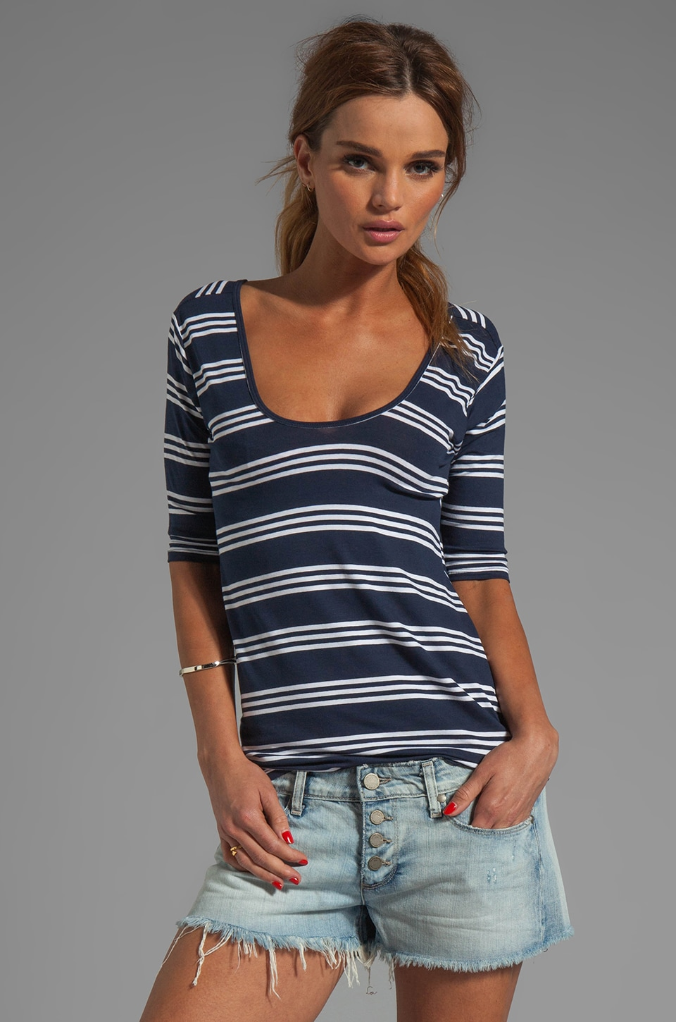 Feel the Piece St. Tropez Open Back Top in Navy Triple Stripe