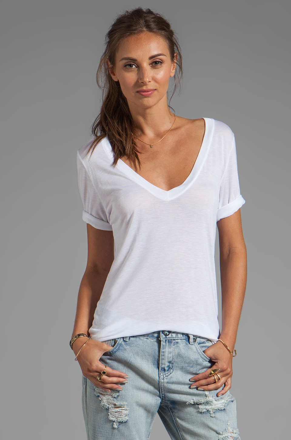 Feel the Piece Best Friend V-Neck Tee in White