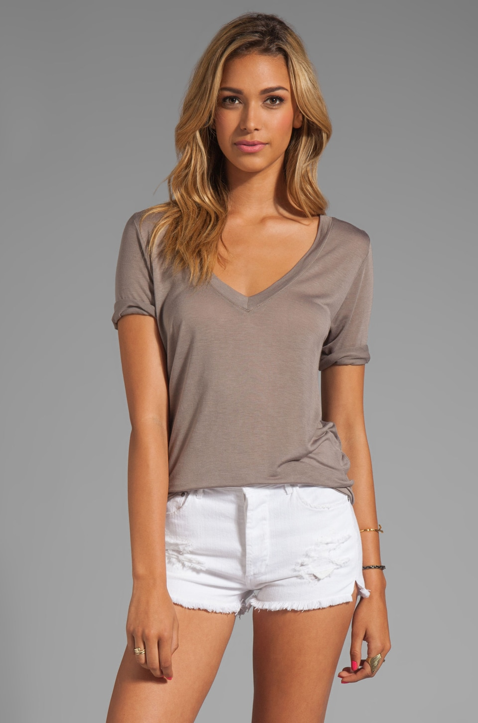 Feel the Piece Best Friend V-Neck Tee in Taupe
