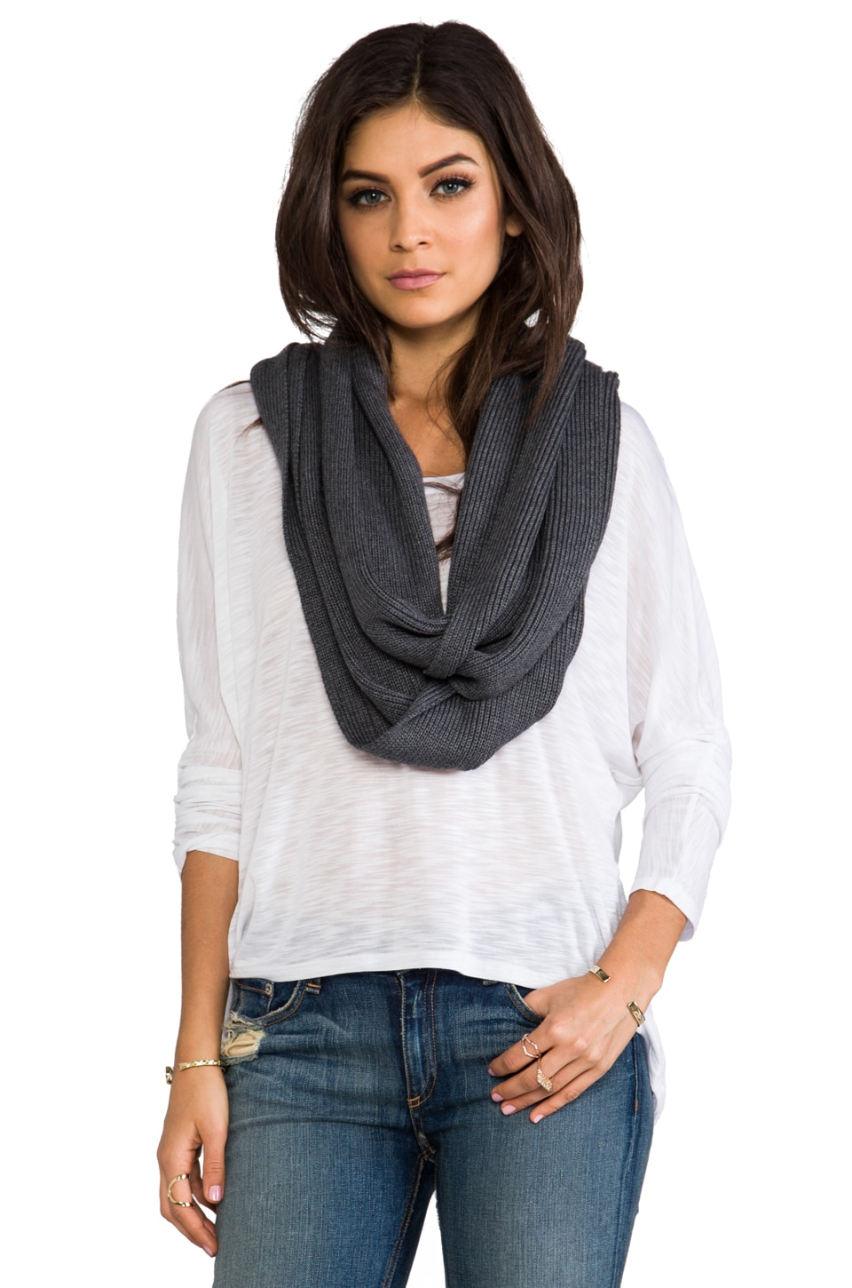 Feel the Piece Nora Scarf in Charcoal Grey