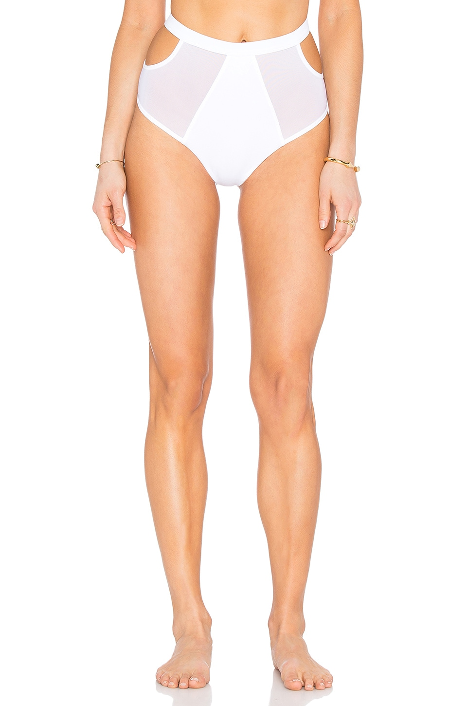 F E L L A Finn High Waist Bikini Bottom in White