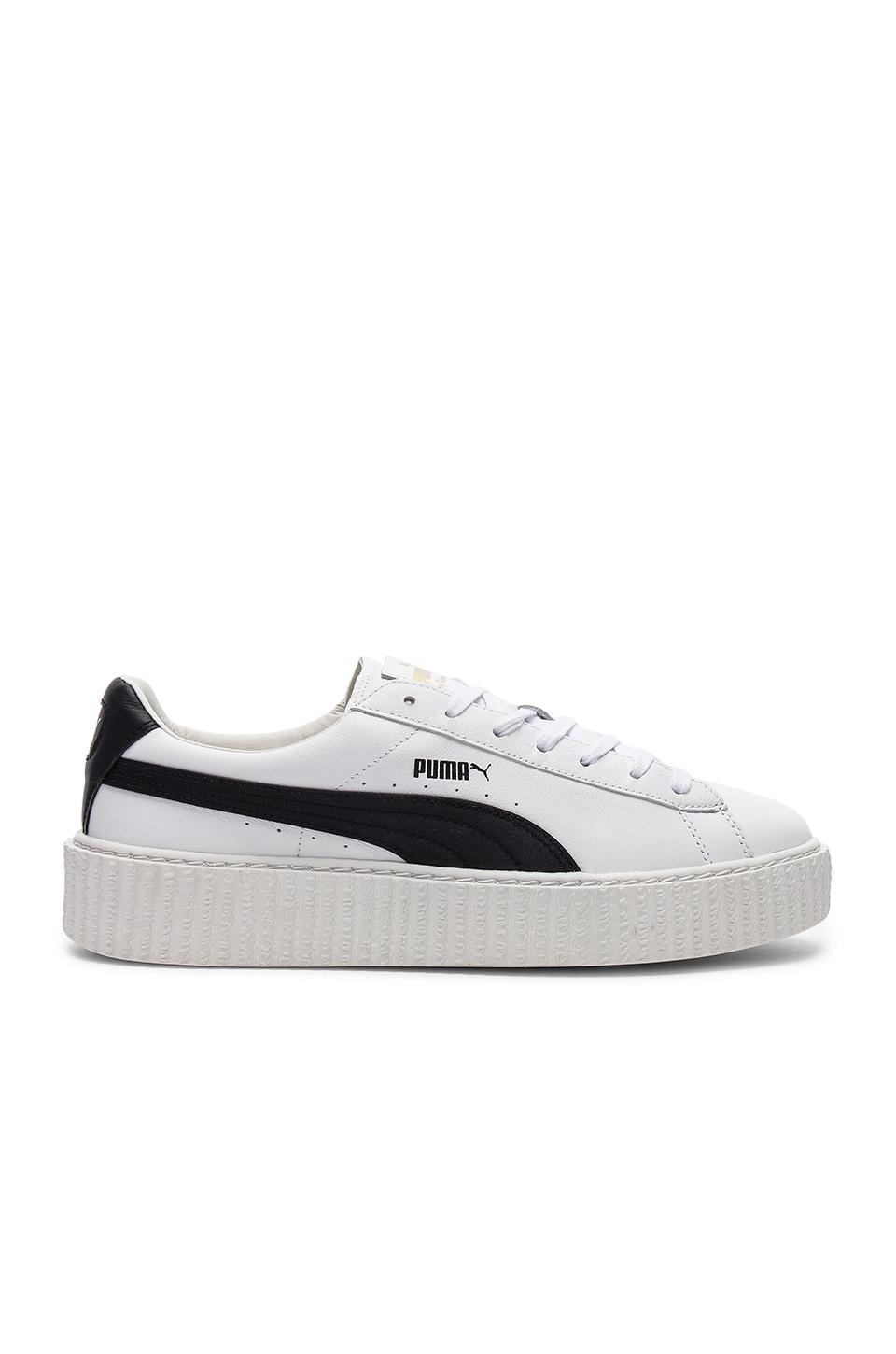 Fenty by Puma Cracked Leather Creeper in White & Black & White