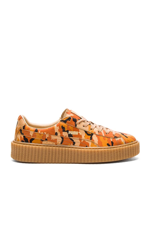 b085ec3064a Fenty by Puma x Rihanna Suede Camo Creepers in Orange   Oatmeal ...