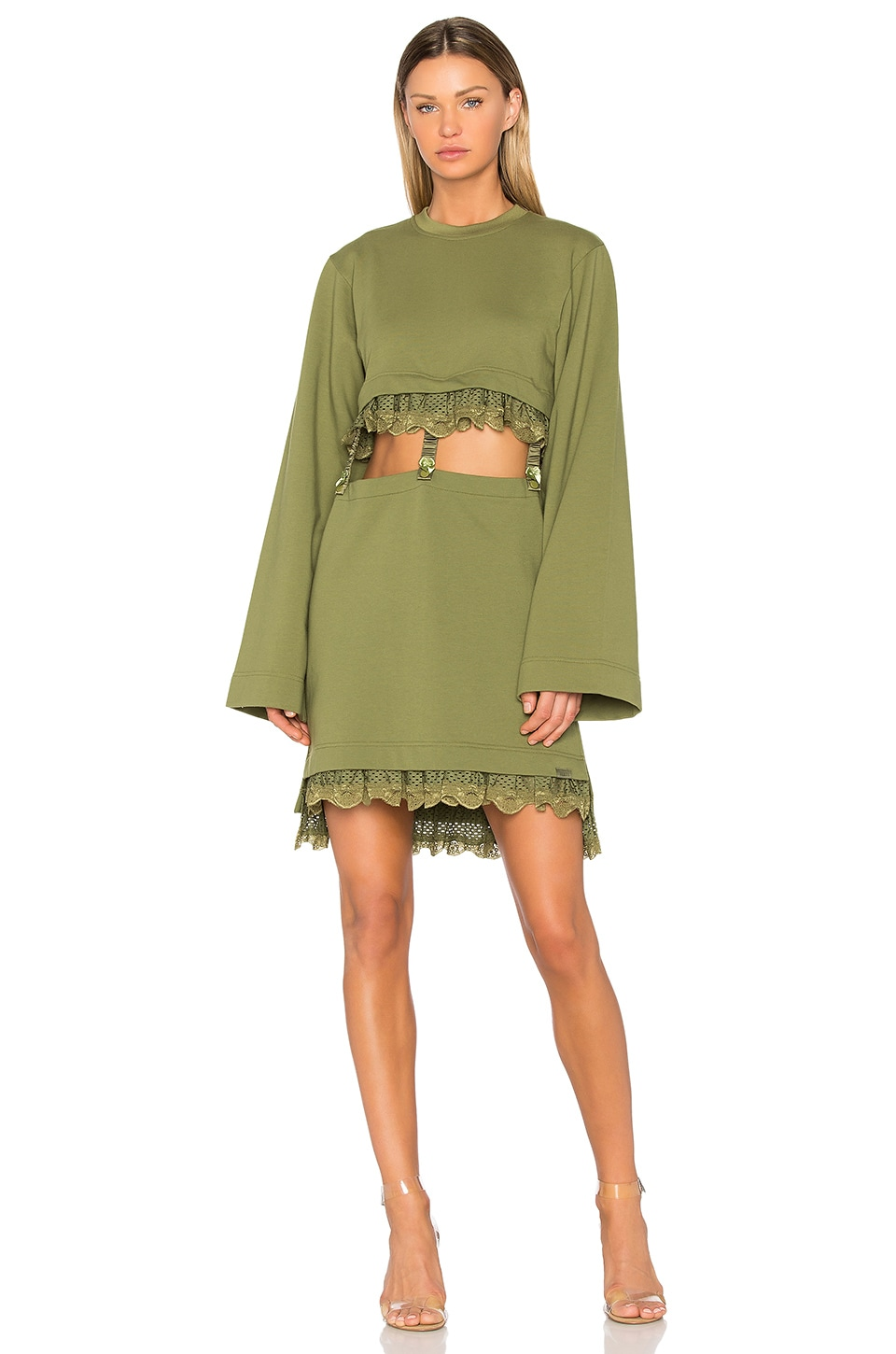 Fenty by Puma Kimono Suspender Dress in Olive Branch