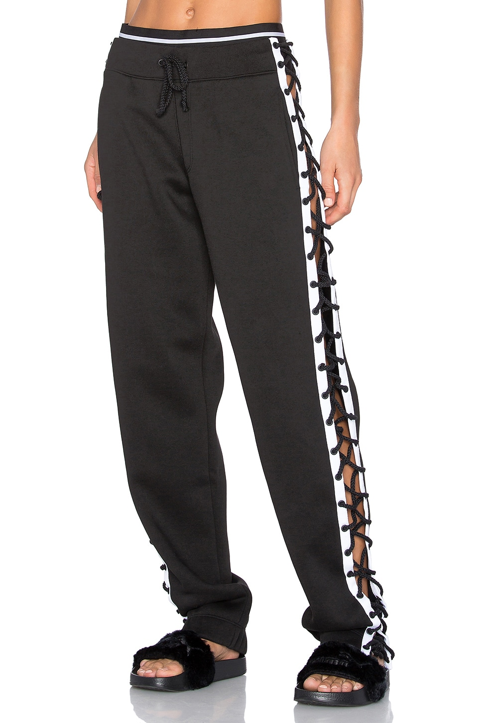 Fenty by Puma Lace Up Sweat Pant in Black & White