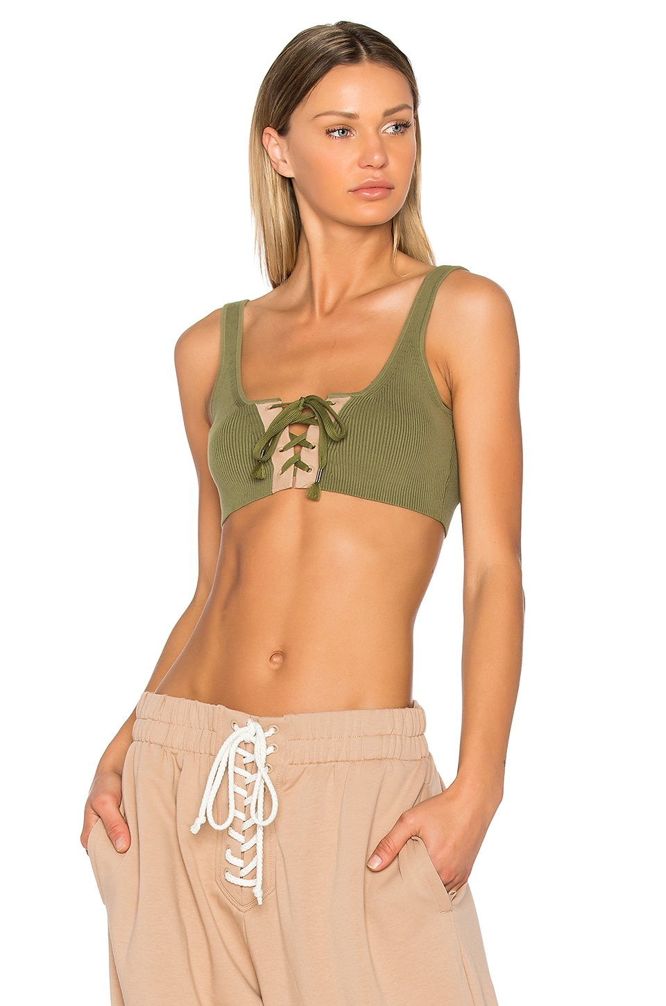 Fenty by Puma Lacing Crop Tank in Olive Branch