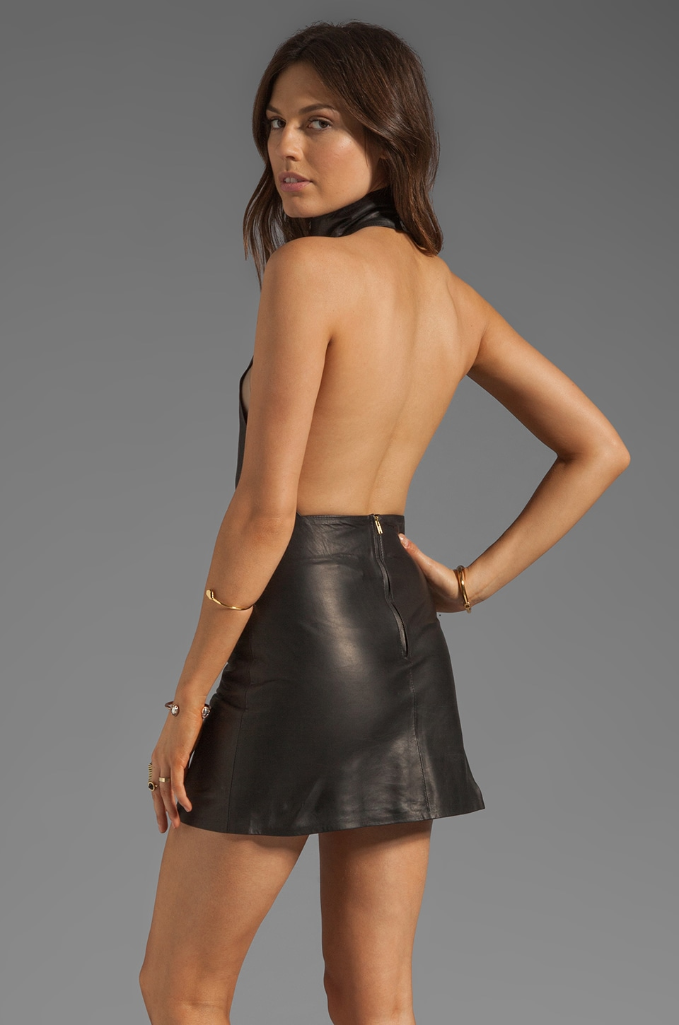 Friend of Mine Knicks Leather Dress in Black