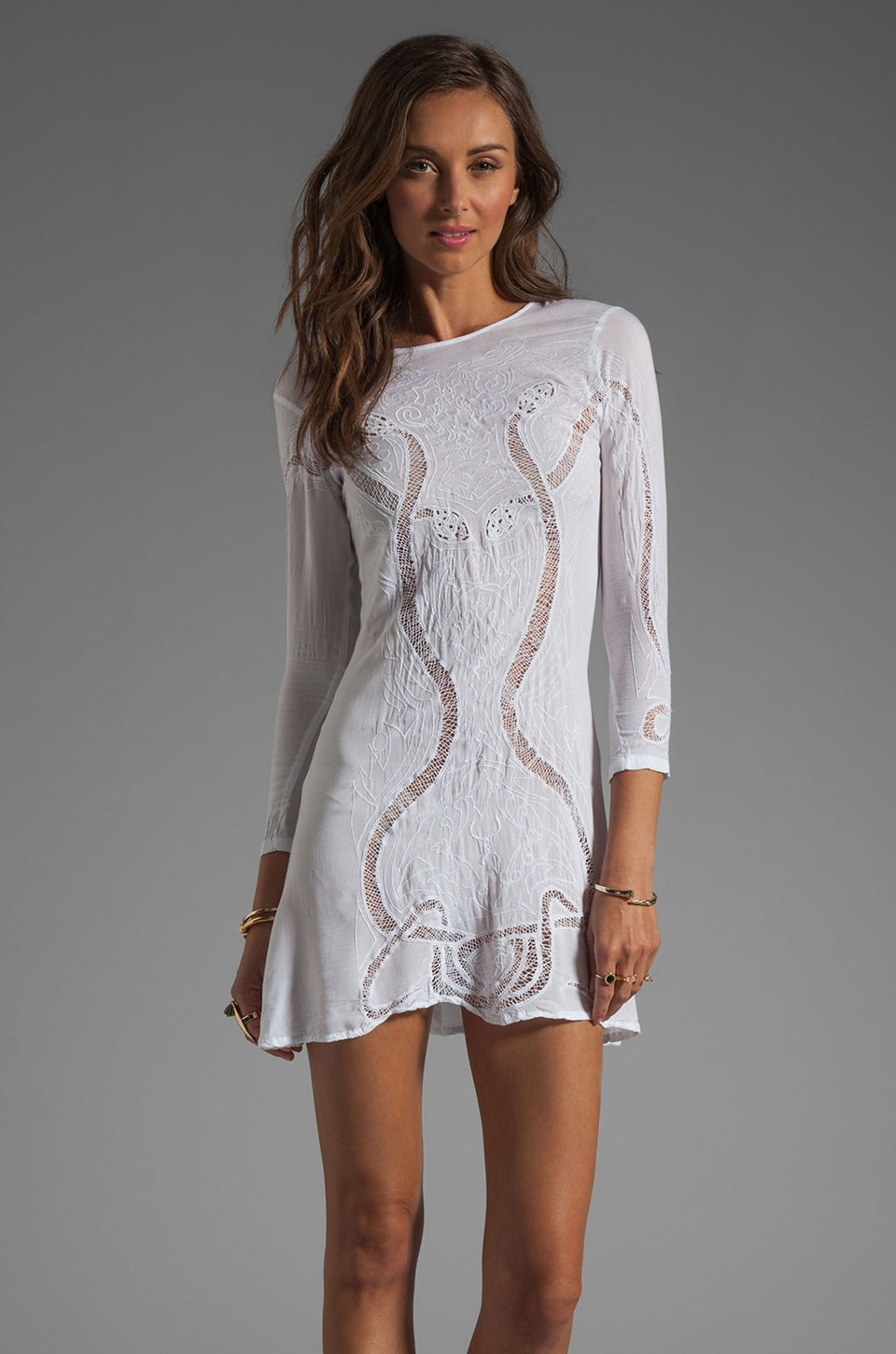Friend of Mine Paloma Snake Embossed Dress in White