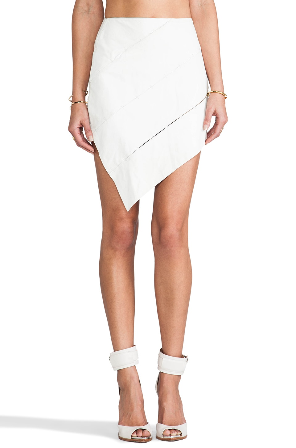 Friend of Mine Imagination Leather Skirt in White