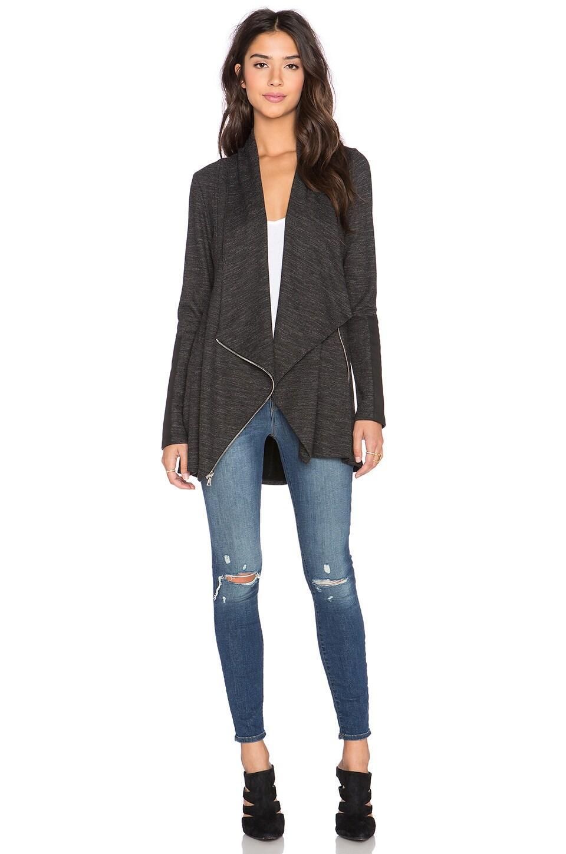 Fifteen Twenty Drape Leather Patch Jacket in Dark Heather Grey