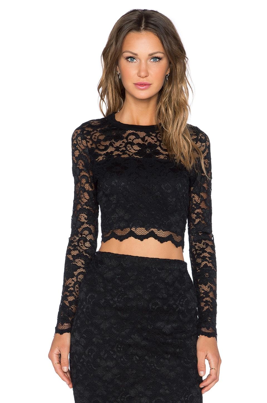 Fifteen Twenty Lace Crop Top in Black