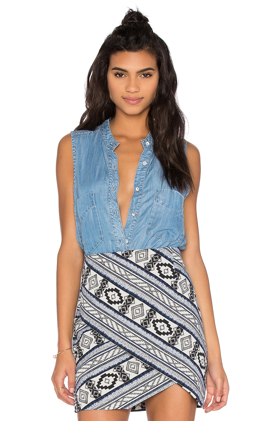 Fifteen Twenty Sleeveless Denim Shirt in Blue