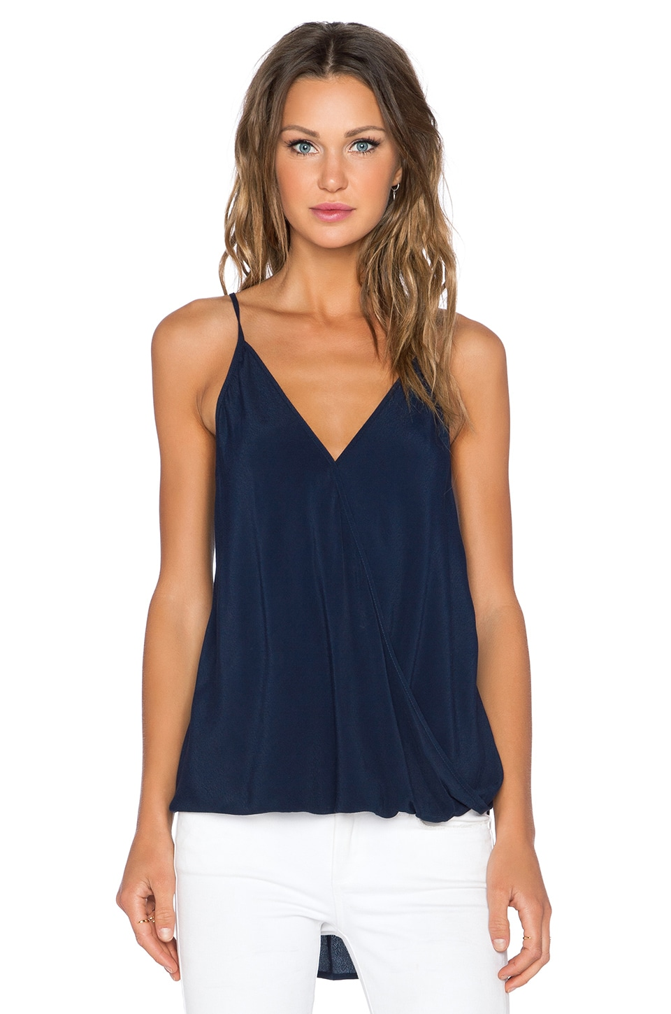 Fifteen Twenty Spaghetti Strap Drape Top in Navy