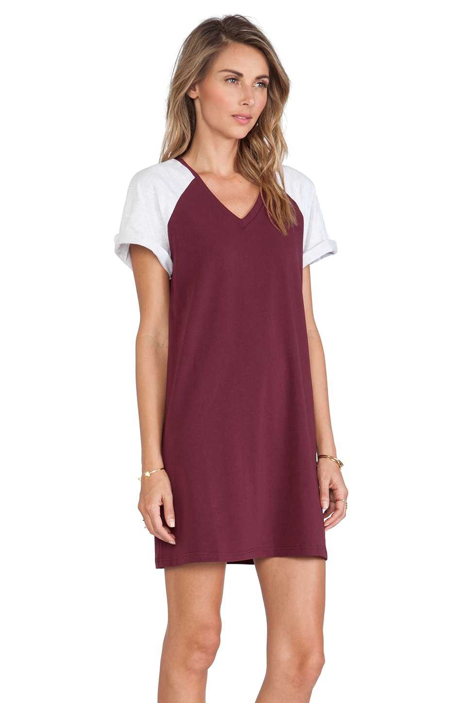 shirt Dress in Maroon