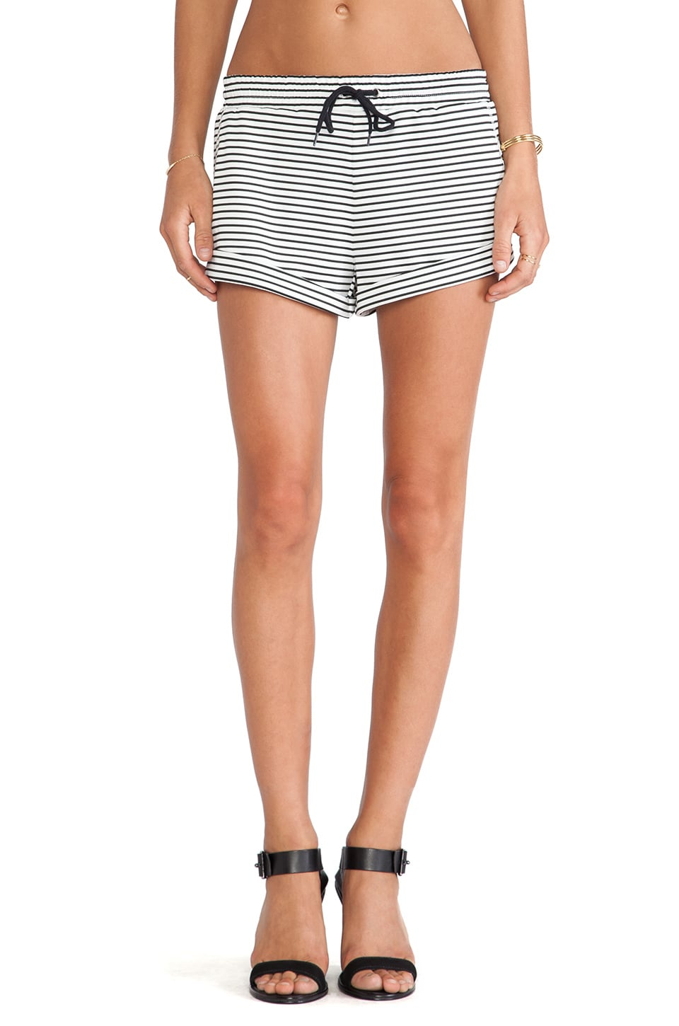 The Fifth Label Breeze Block Shorts in White & Black Stripe