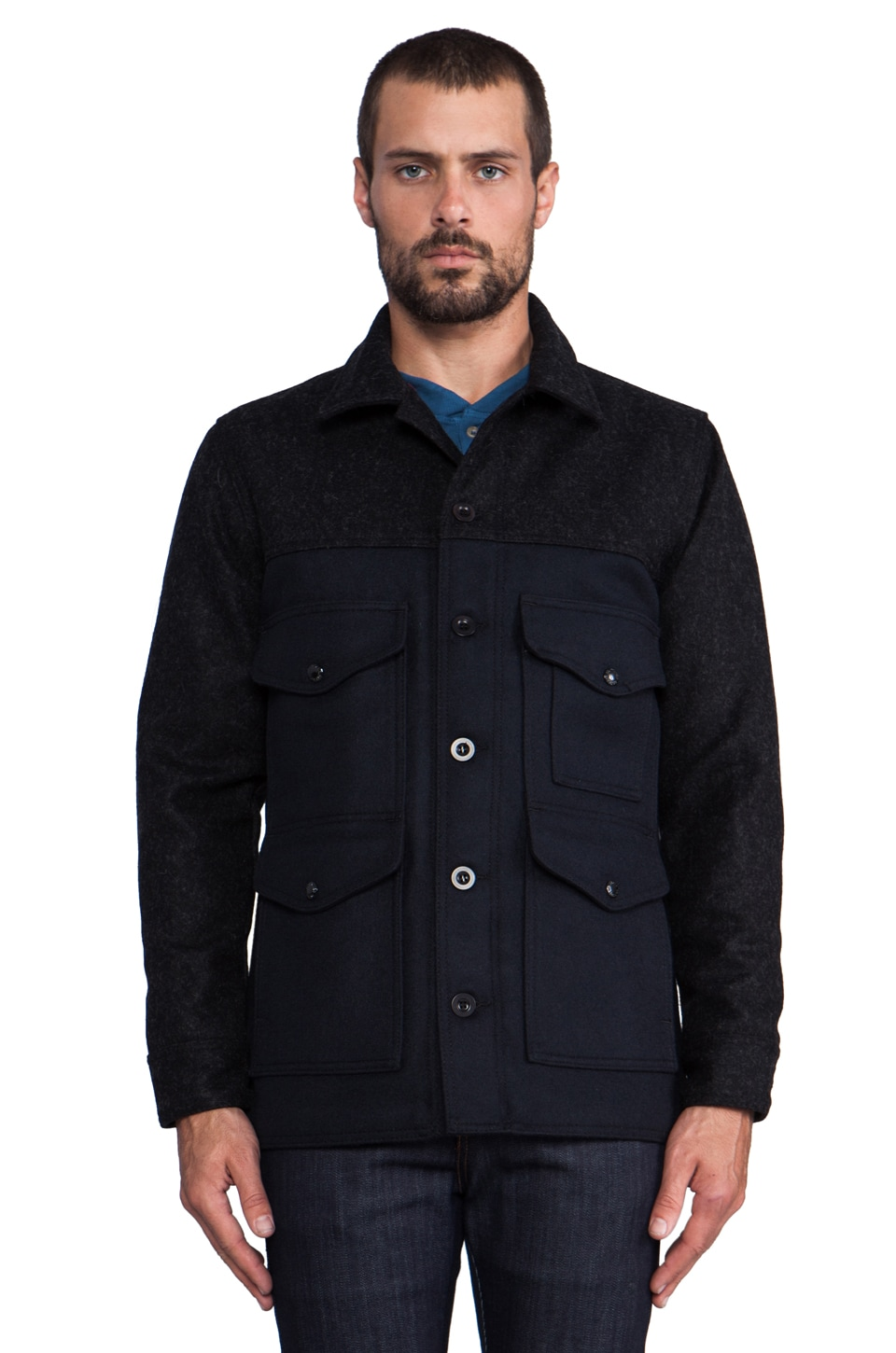 Filson Lined Guide Fit Cruiser in Charcoal/Navy