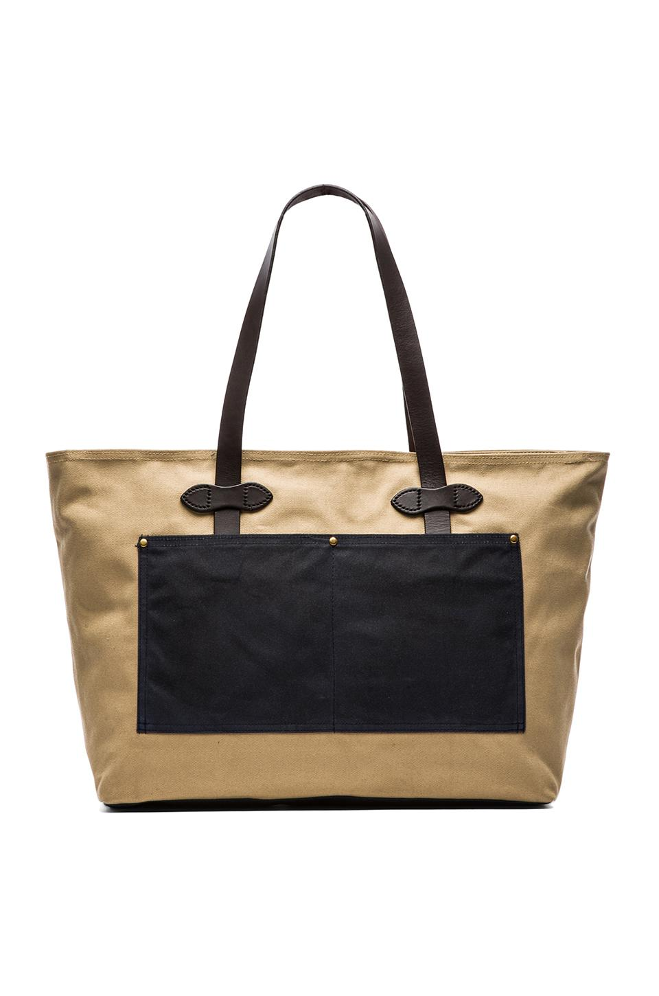 Filson Large Zip Tote in Navy/ Tan