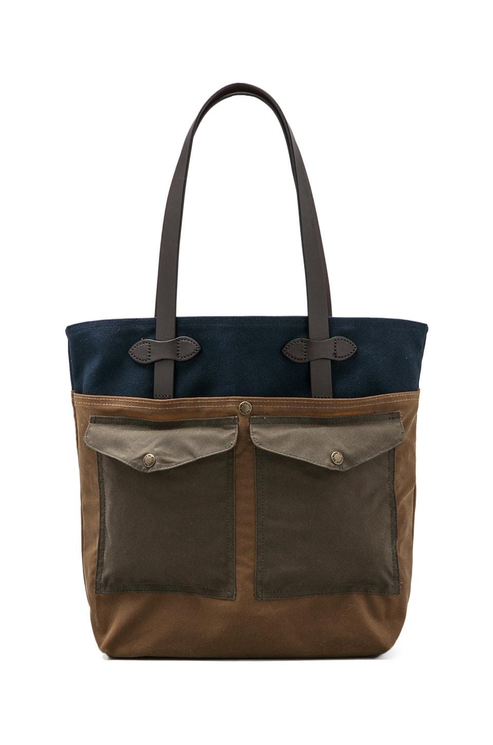 Filson Medium Tote w/ Pockets in Navy/ Dark Tan