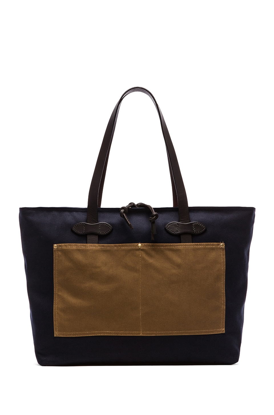 Filson Large Zip Tote in Navy & Orange & Tan