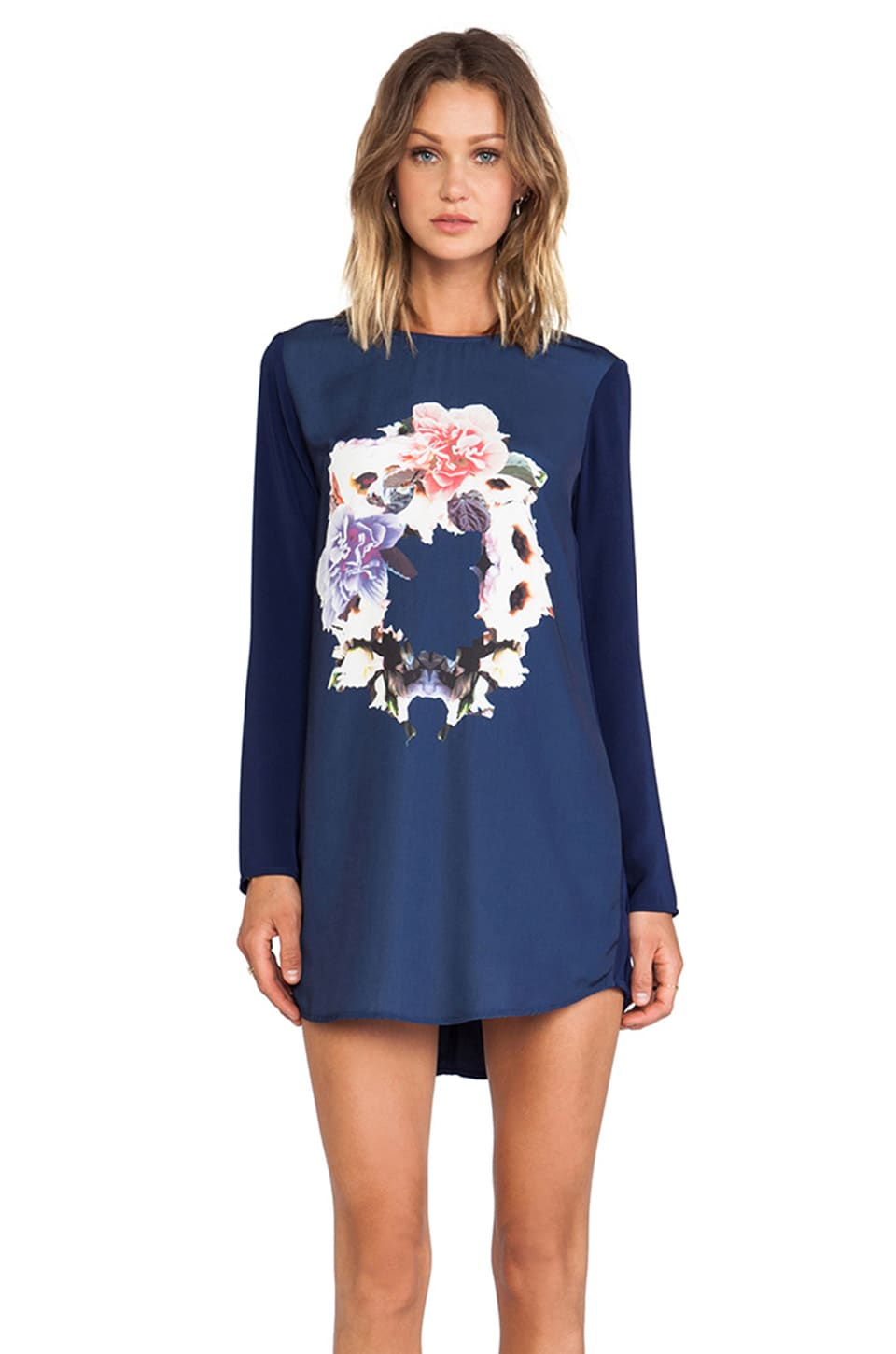 Finders Keepers Evil Friends Long Sleeve Dress in Navy Ring of Roses Print
