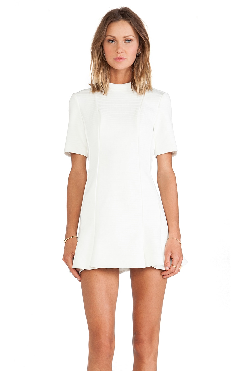 Finders Keepers Straight Talker Long Sleeve Dress in Ivory