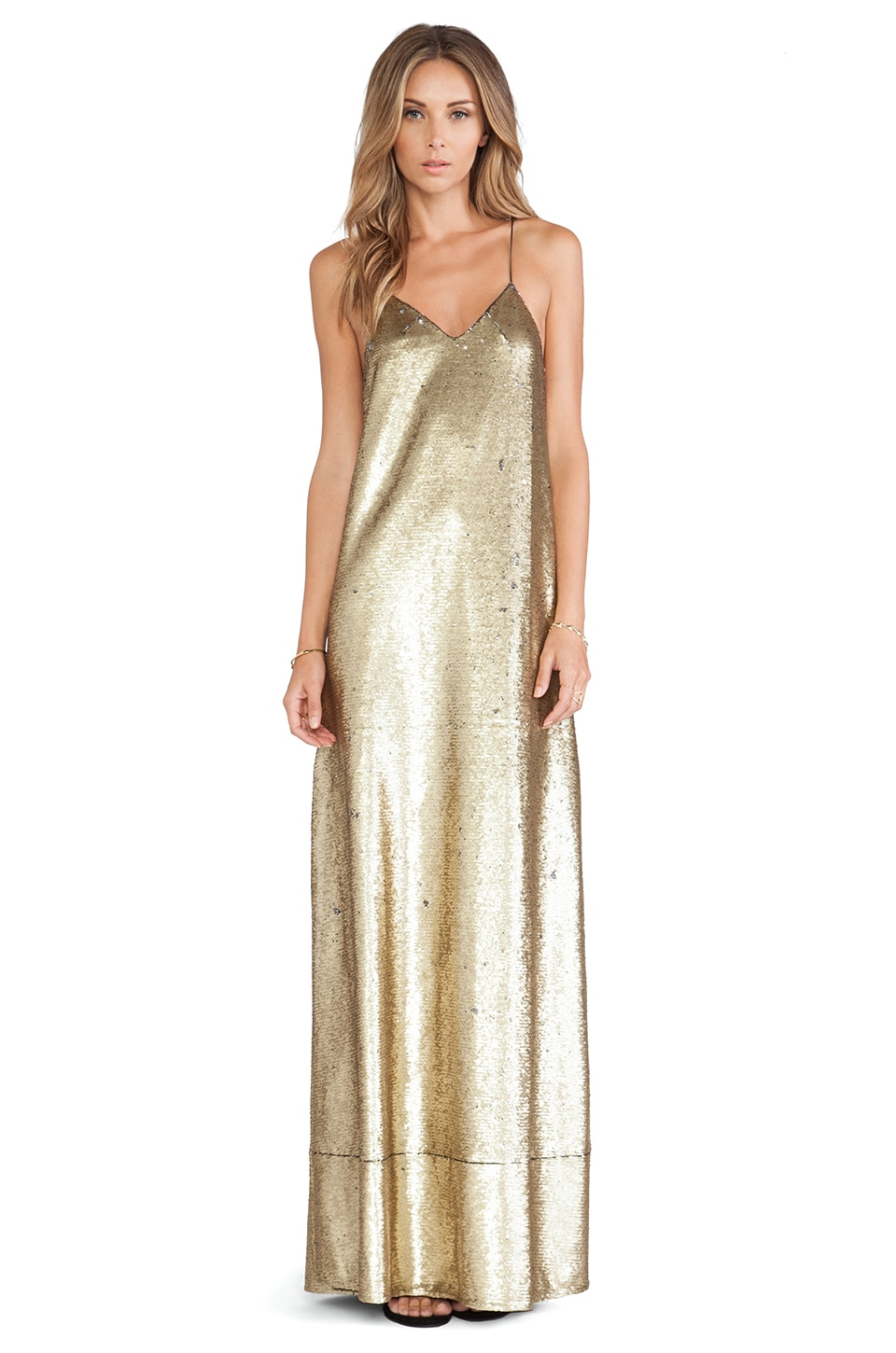 Finders Keepers Dream On Maxi Dress in Gold