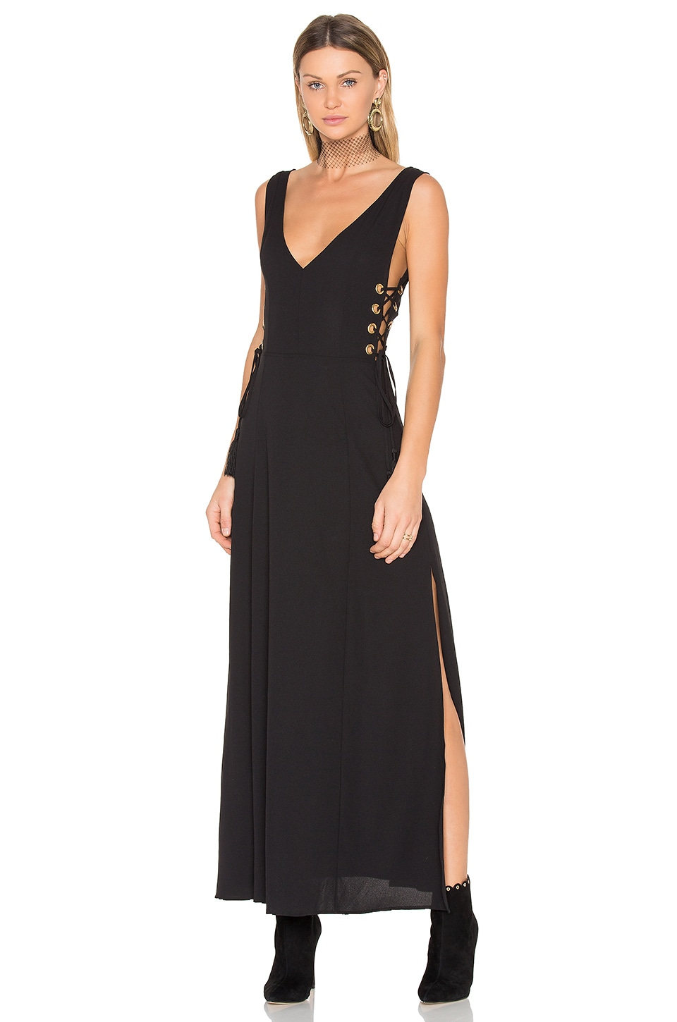 Black Long Dress with Tie Detail