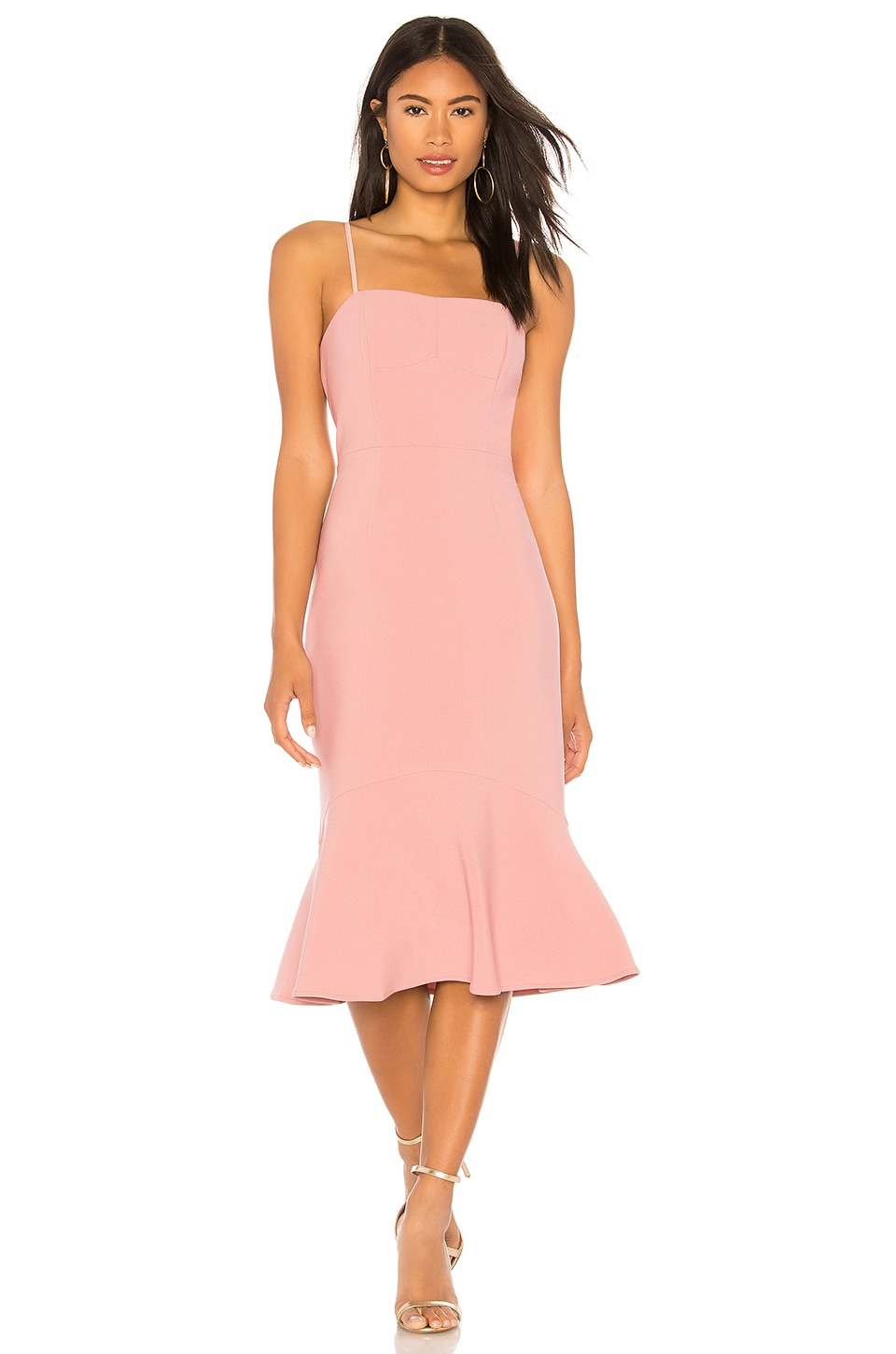 Finders Keepers Continuum Midi Dress in Pink Dust