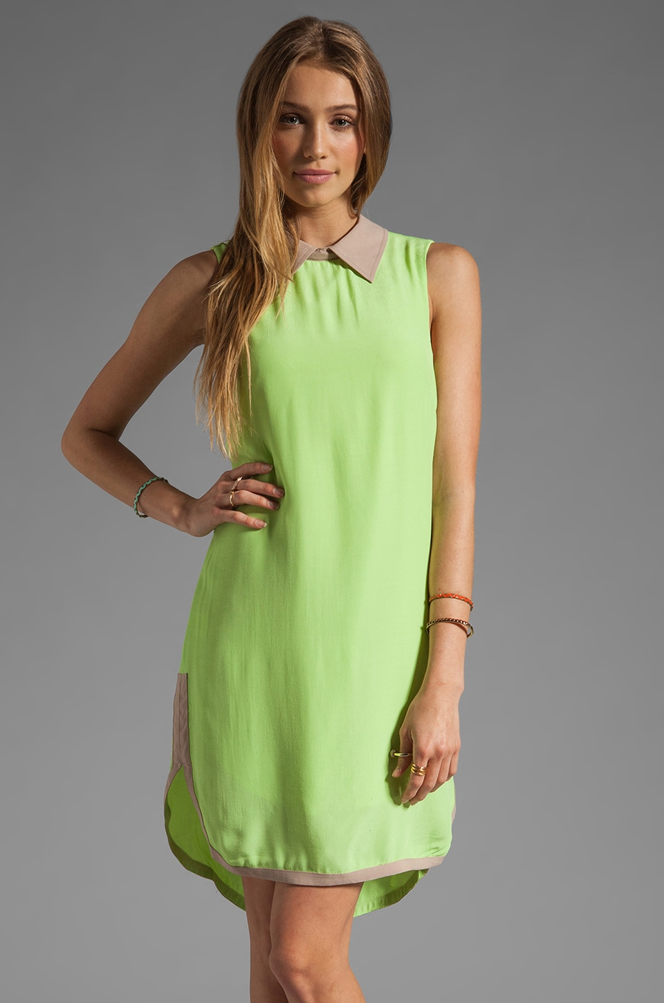 Finders Keepers Mood For Love Dress in Lime/Biscuit
