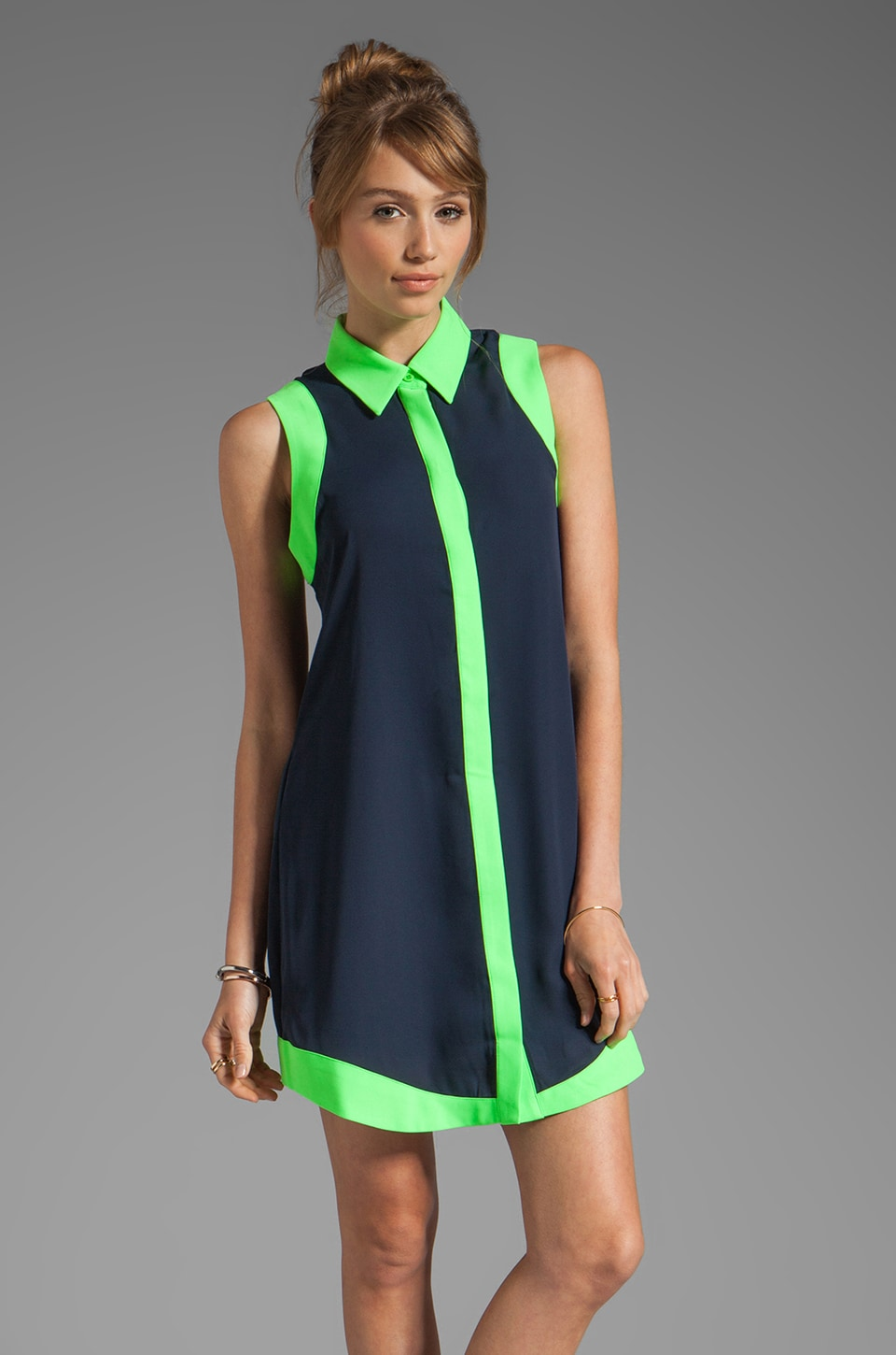 Finders Keepers Rock City Shirt Dress in Ink/Lime