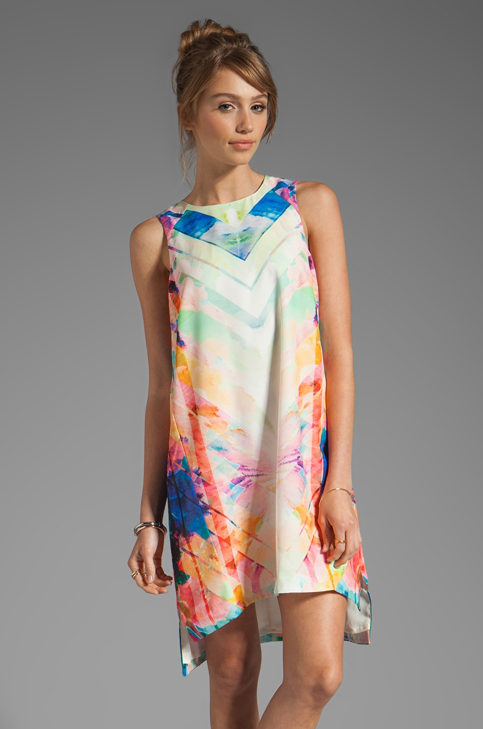 Finders Keepers Same Direction Dress in Print/Ivory