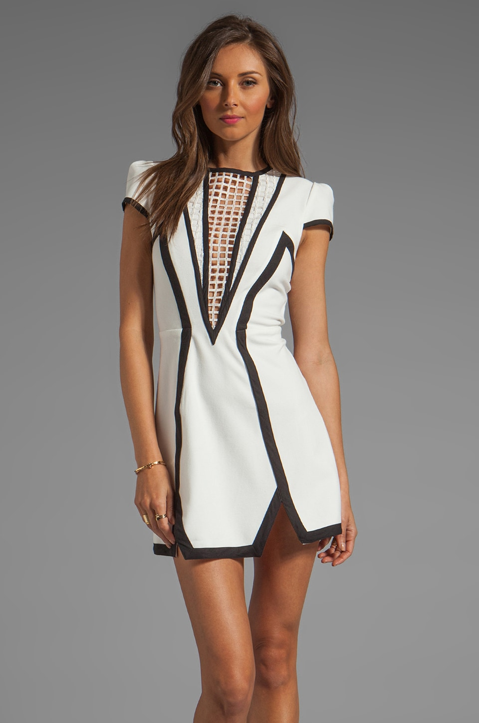 Finders Keepers By the Way Dress in Ivory/Black