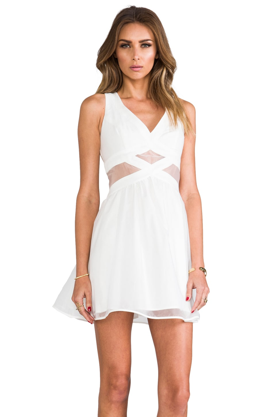 Finders Keepers Broken Heart Dress in Ivory/White