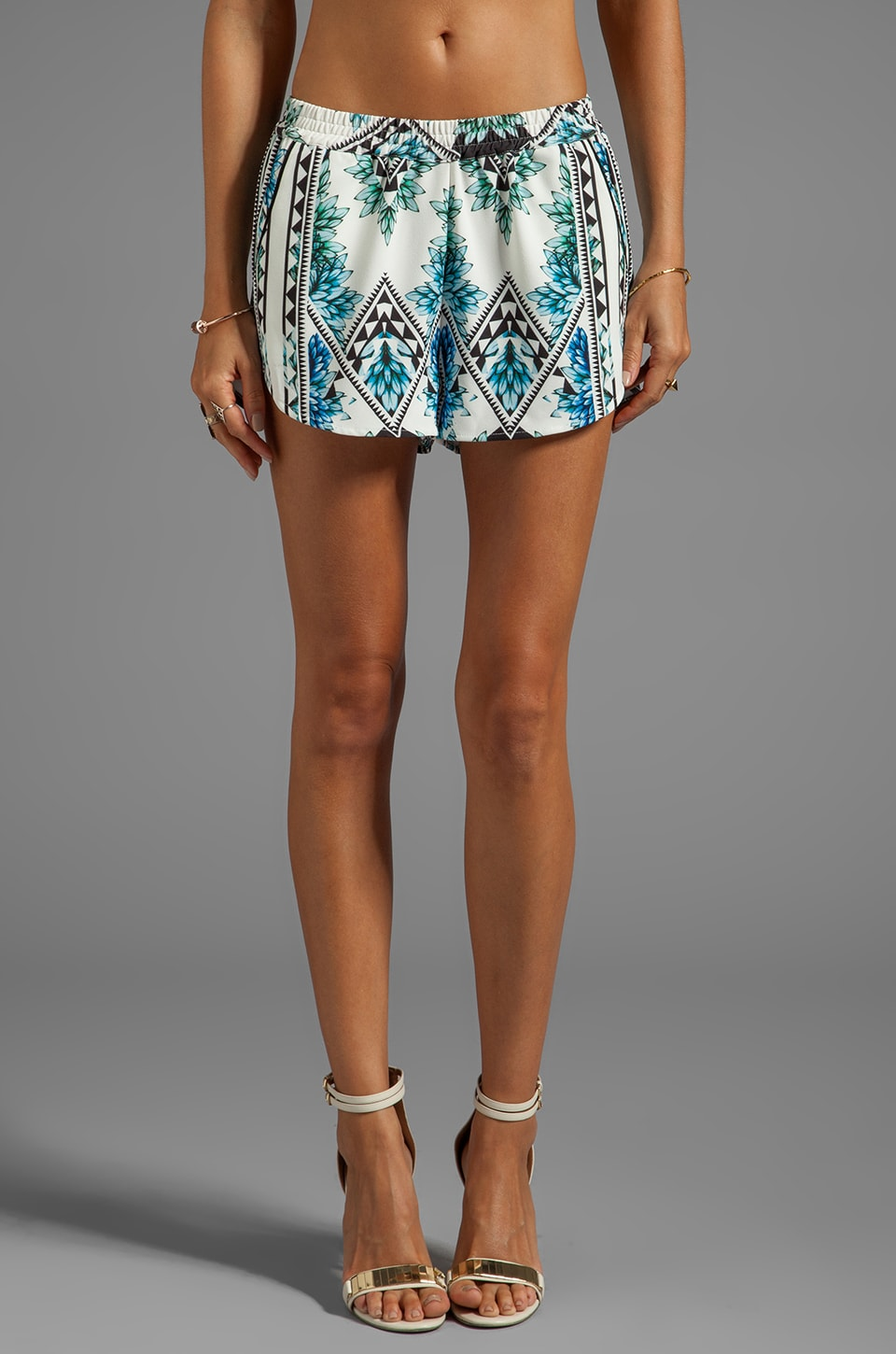 Finders Keepers Wonderful Remark Shorts in Aztec Floral Print Blue/Black