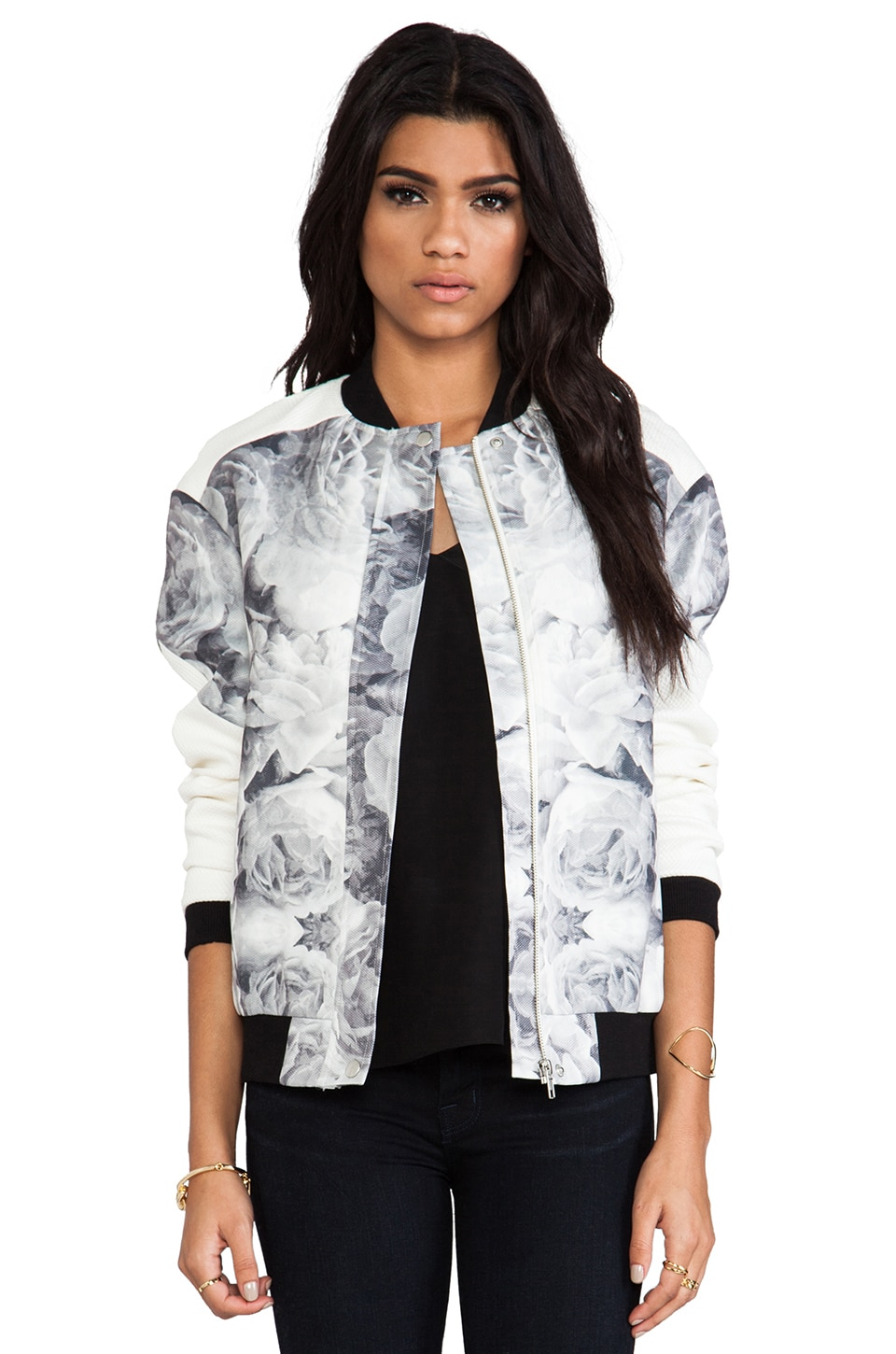Finders Keepers The Eclipse Bomber in Rose Print Monochrome & Ivory