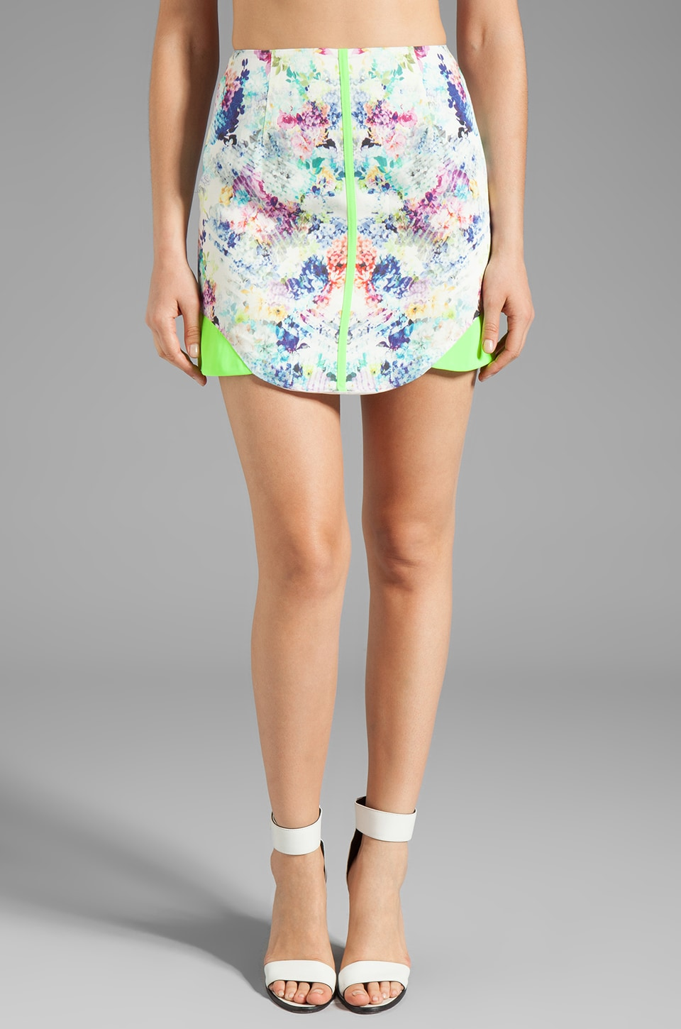 Finders Keepers All the Colors Skirt in Flower Bomb White/Sunny Lime