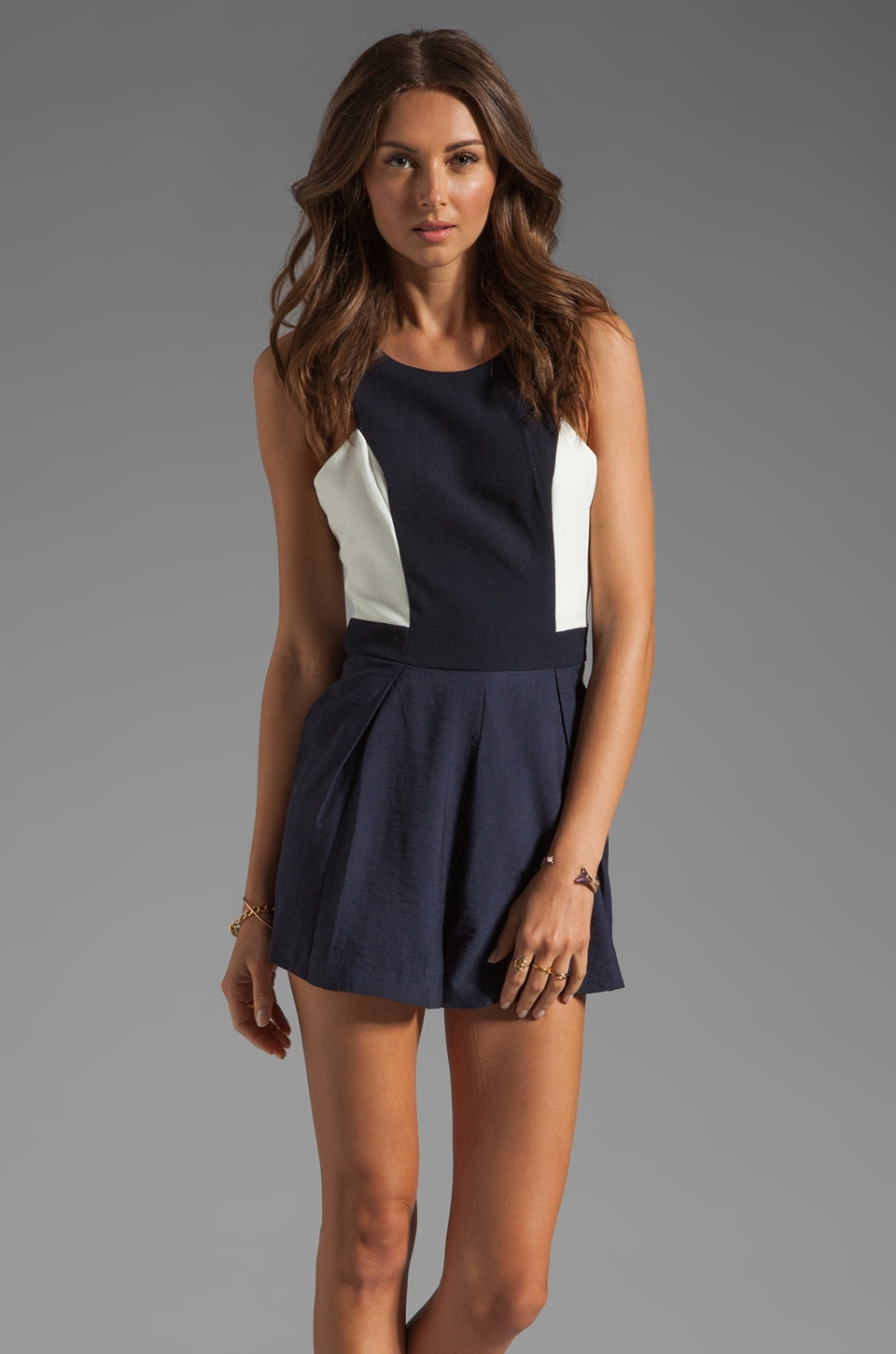 Finders Keepers I've Been Loving Playsuit in Indigo/White