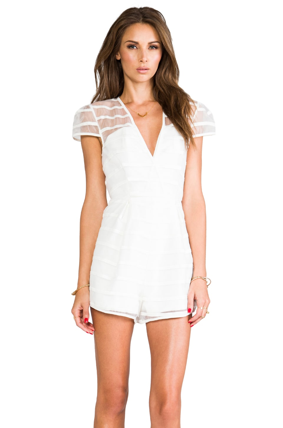 Finders Keepers Tight Rope Playsuit in Ivory
