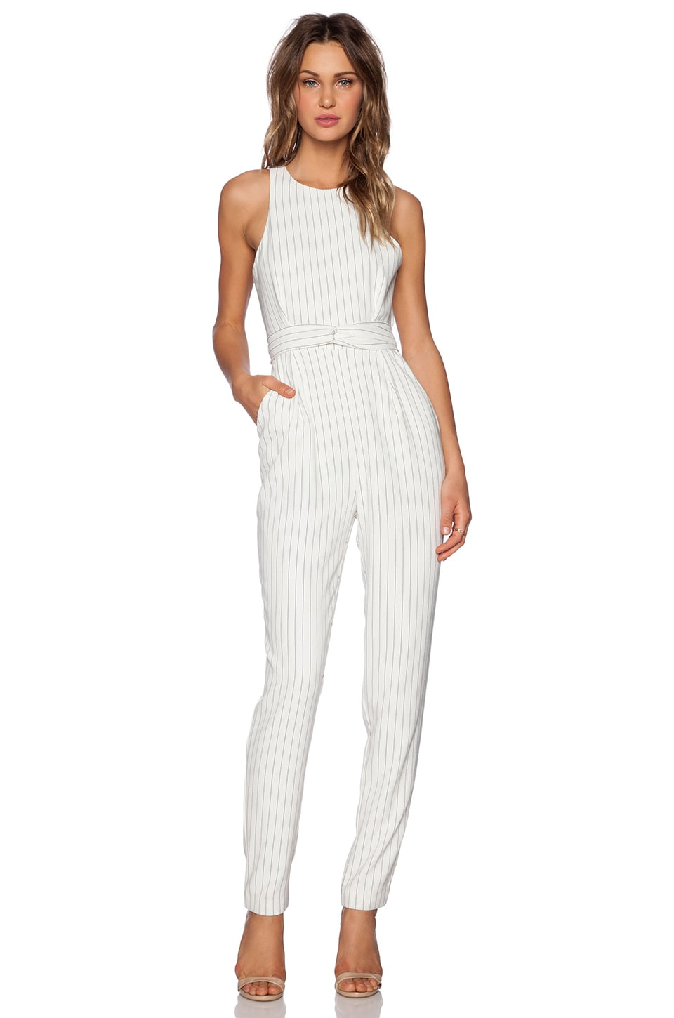 Finders Keepers As You Are Twist Jumpsuit in White Pinstripe