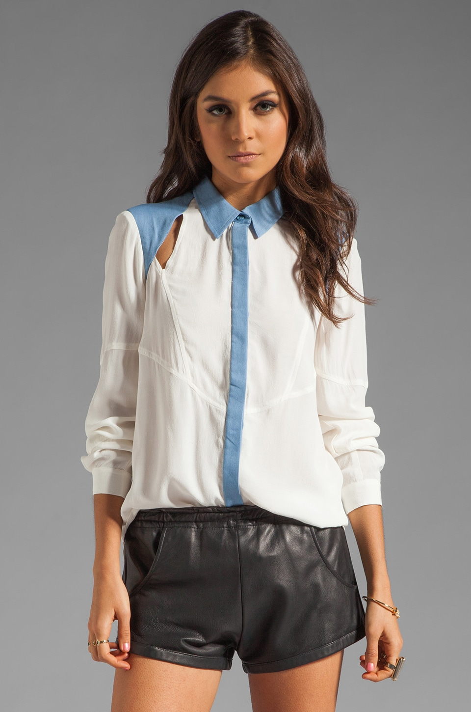 Finders Keepers Innocent Hearts Long Sleeve Shirt in White/Chambray