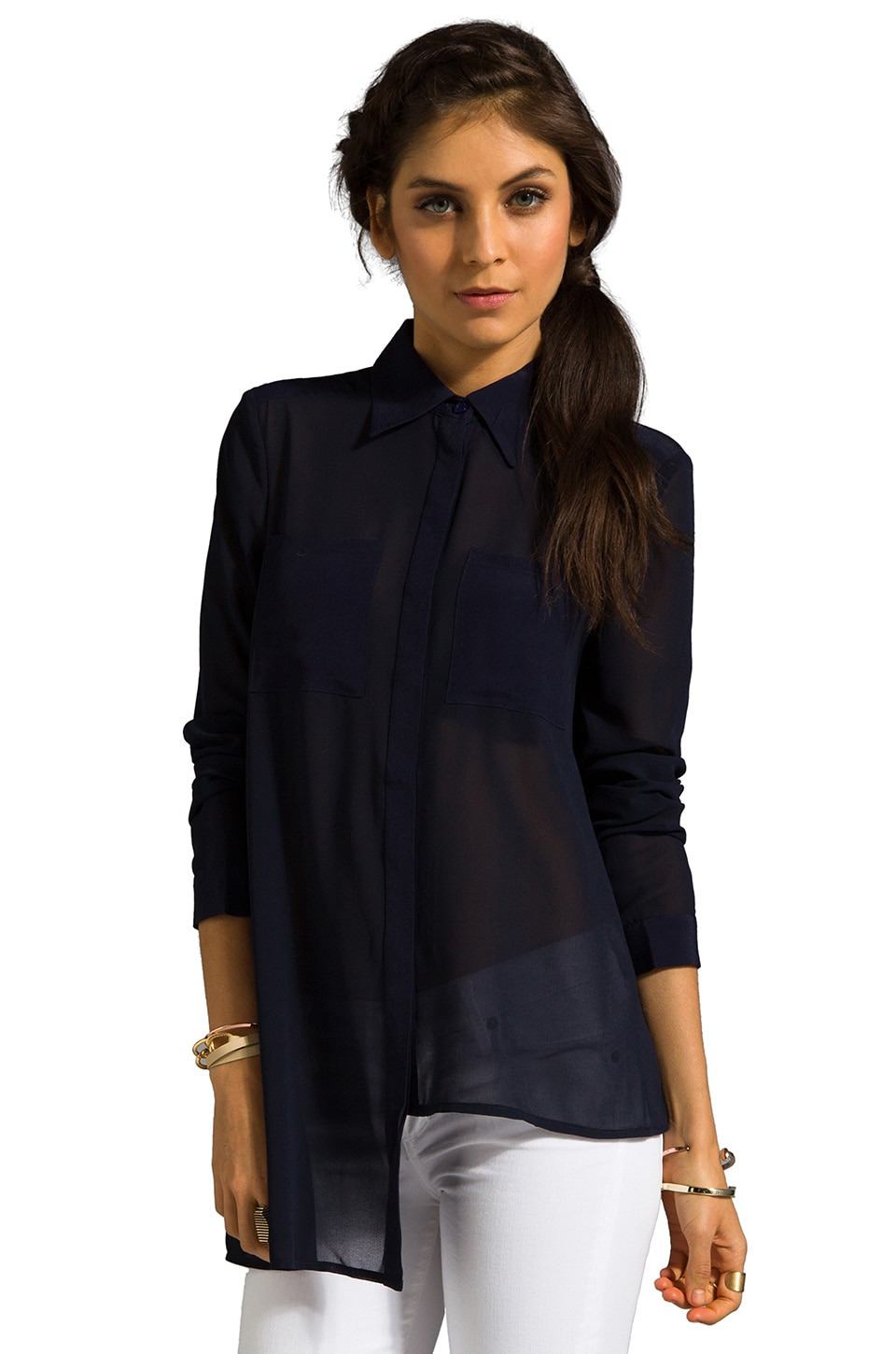 Finders Keepers Anything Goes Long Sleeve Shirt in Twilight