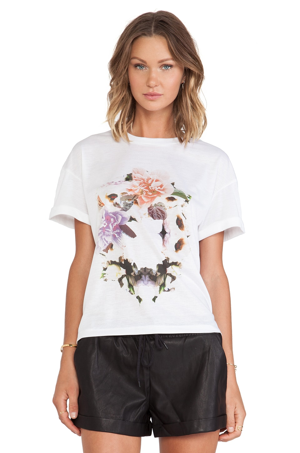 Finders Keepers Strange Times Tee in White Ring of Roses Print