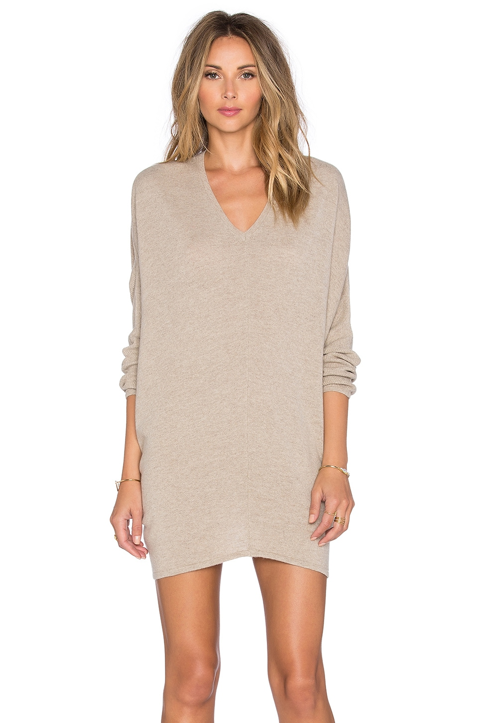 Fine Collection V Neck Sweater Dress in Heather Beige | REVOLVE
