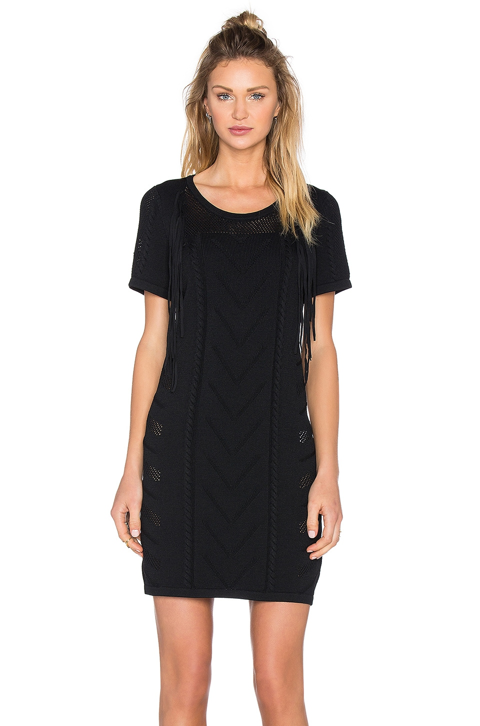 Fine Collection Fringe Sweater Dress in Black