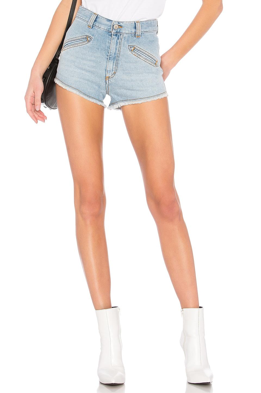 Frayed Hem Denim Shorts in Blue