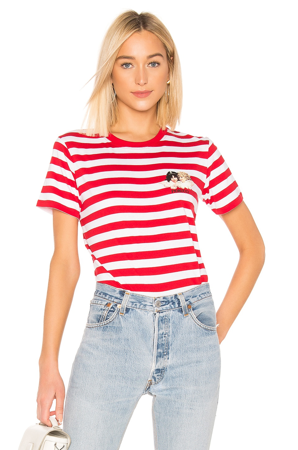 FIORUCCI Iconic Stripes Tee with Angels in Red & White