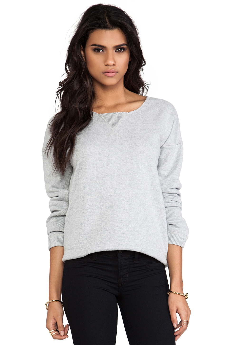 First Base Sloppy Joe Sweatshirt in Light Grey Marle